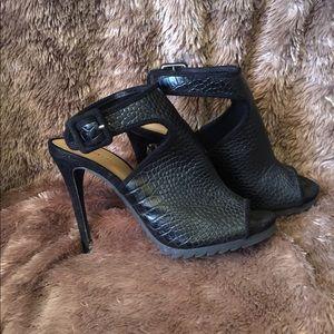 JustFab Lucya Black Sexy Ankle Strap Heels, Size 9